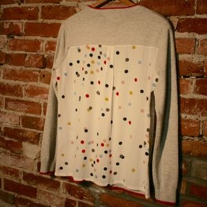Boden Wool/Cotton Polka-Dot Chiffon Back Sweater